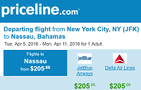 Priceline Non Stop Round Trip Flights New York to Nassau