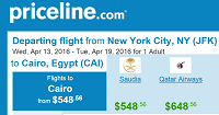 Priceline Round-Trip Flights New York to Cairo Egypt