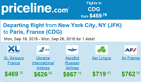 Priceline Nonstop Round-Trip Fares New York Paris