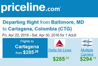 Priceline Round Trip Flights Baltimore to Cartagena, Colombia