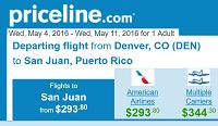 Priceline Round Trip Flights Denver to San Juan, Puerto Rico