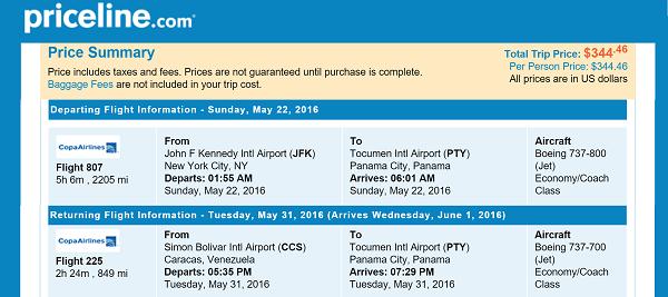 Priceline Round Trip Flights New York to Caracas, Venezuela