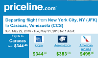 Priceline Round Trip Flights New York to Caracas, Venezuela