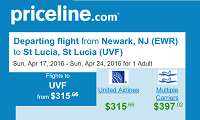 Priceline Non Stop Round Trip Flights New York to St Lucia