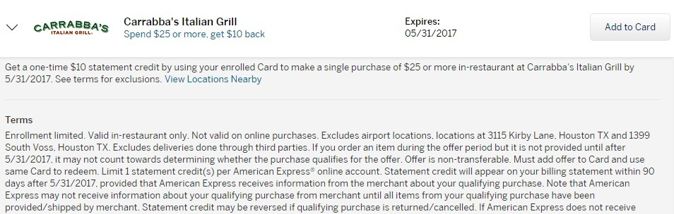 Amex Offers Carrabba's Italian Grill $10 Statement Credit