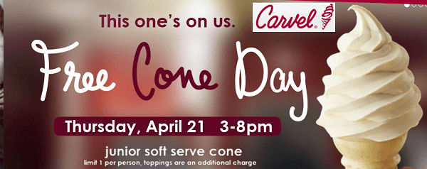 Carvel Free Cone Day Free Junior Size Soft-Serve Cone