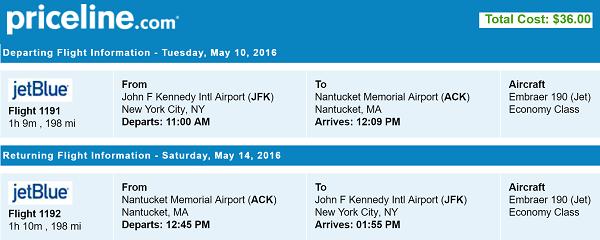Priceline Nonstop Round Trip Flights New York to Nantucket, MA
