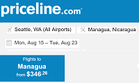 Priceline International Round Trip Flights Seattle to Managua, Nicaragua