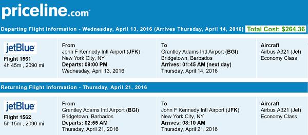 Priceline Non Stop Round Trip Flights New York to Barbados Itinerary