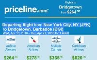 Priceline Non Stop Round Trip Flights New York to Barbados