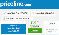 Priceline Nonstop Round Trip Flights New York to Nantucket, MA