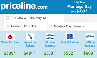Priceline Offers Round Trip Flights Departing Portland to Montego Bay, Jamaica