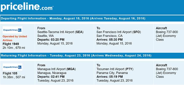 Priceline International Round Trip Flights Seattle to Managua, Nicaragua