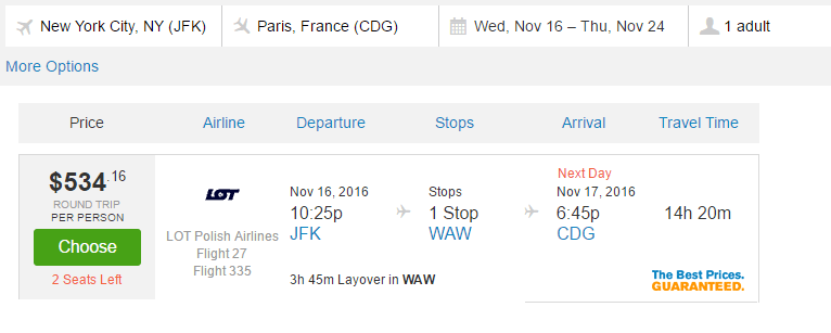 JFK to Paris