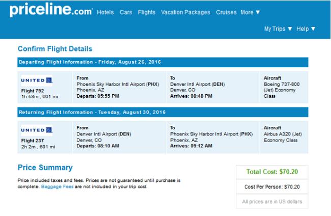 Denver to Pheonix Flight