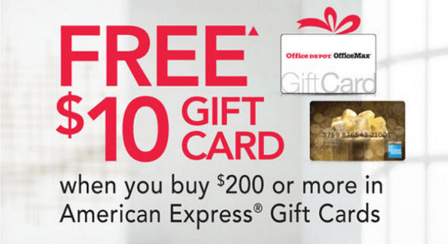 Office Depot And Officemax Amex Promotion 10 Gift Card W