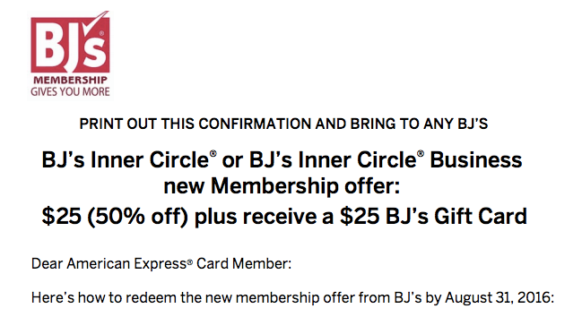American Express BJ's Promotion