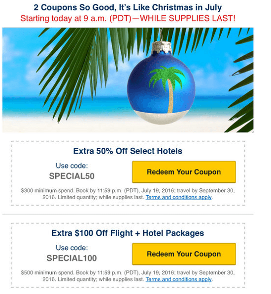 Expedia Christmas In July Promotion: 50% Off Select Hotels + $100