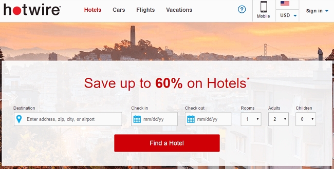 Hotwire Hotel Promotion: Up to 60% Off