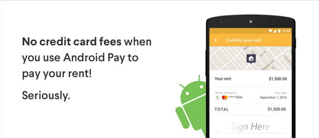 pay rent with a credit card for free using radpad android pay. Black Bedroom Furniture Sets. Home Design Ideas