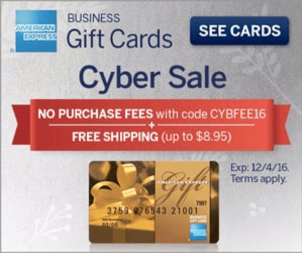 American express business gift cards cyber sale fees for American express business gift cards
