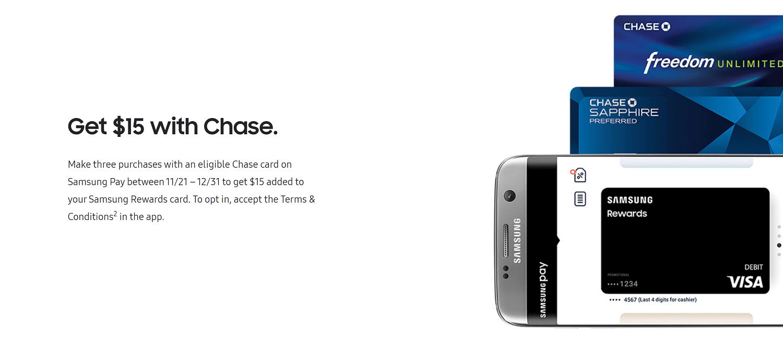 Chase $15 Bonus Samsung Pay Promotion