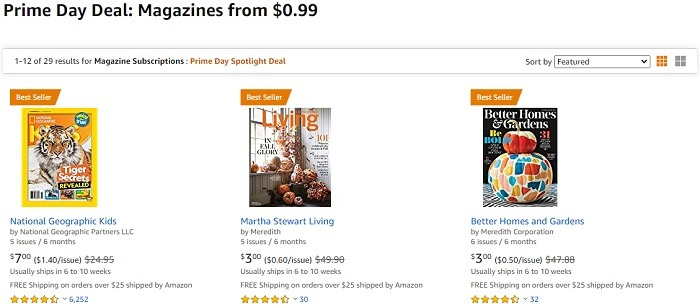 Magazine Subscriptions Starting at $0.99 Prime Day Deal