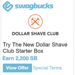 Swagbucks DollarShaveClub Promotion: Earn 2,200 SB ($22)