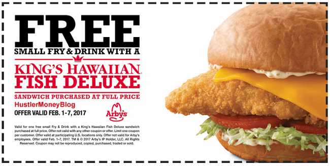 Arby s coupon promotion free fries and drink for Arby s fish sandwich 2017