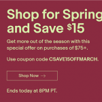 eBay FlashSale Promotion: Get $15 Off Purchases of $75 or More