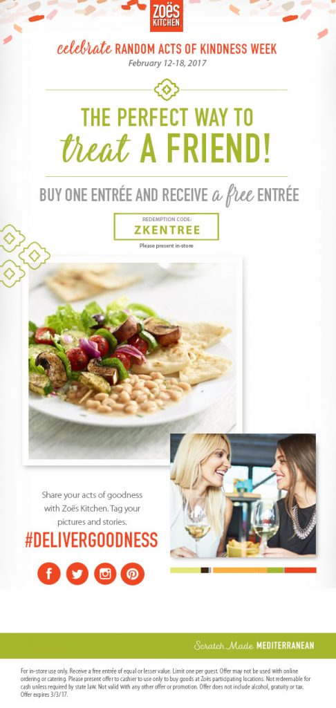 how to receive zoes kitchen bogo entree - Zoes Kitchen Locations