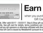 Stop&Shop, Giant, Martin's Store Visa Gift Card Promotion: $15 Shopping Credit with $250 Purchase