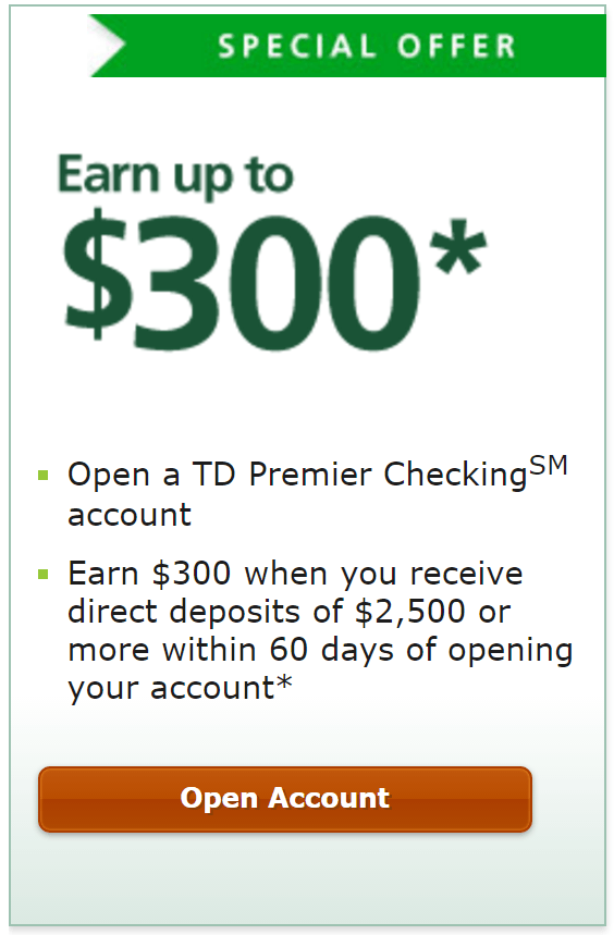 TD Bank frequently offers cash bonuses for new checking customers. Some deals are only available for residents of select States, so make sure you read the fine print carefully. All TD Bank checking accounts offer free online banking, bill pay, mobile deposits, and 24/7 live customer service by phone.