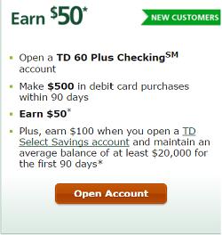 TD Bank 60 Plus Checking Promotion: $50 Bonus (CT, DC, DE
