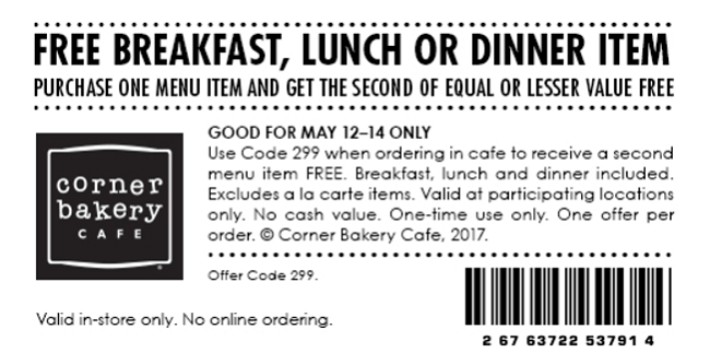 Corner bakery coupon code