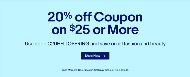 Ebay 20 discount coupon