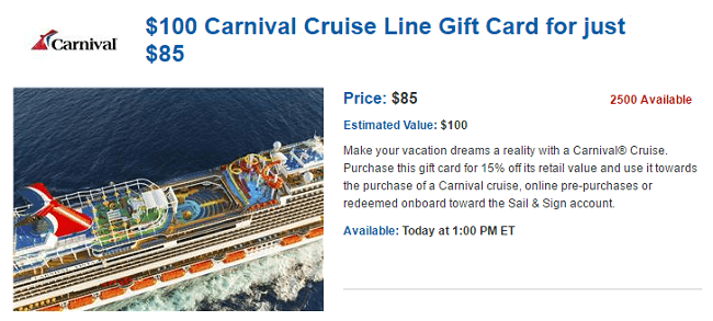 carnival cruise gift card daily getaways carnival cruise gift card promotion get 5837