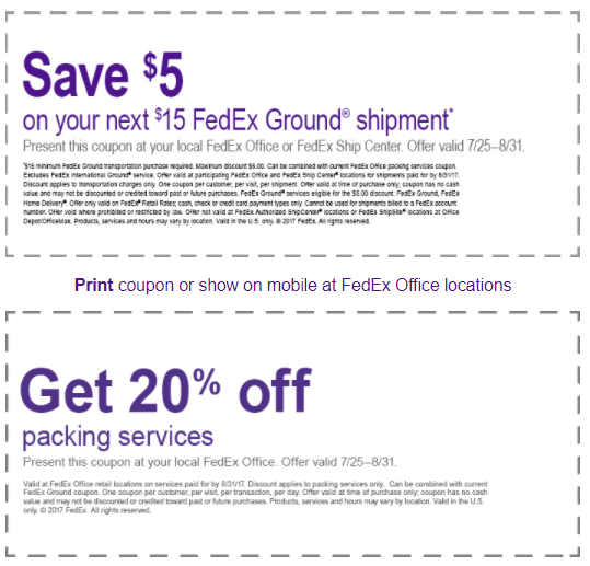 Fedex ground shipping promotion 5 off 15 shipping 20 for Fedex printing coupon codes