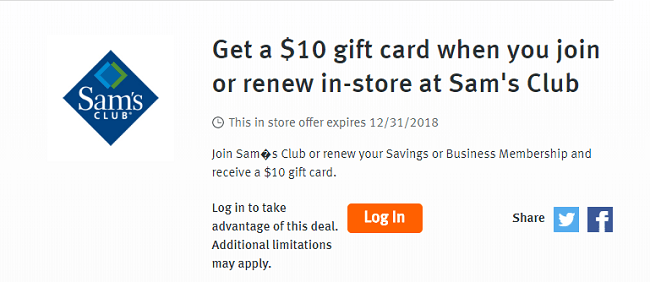 Discover deals sams club membership offer get 10 sams club gift card how to receive your 10 gift card colourmoves