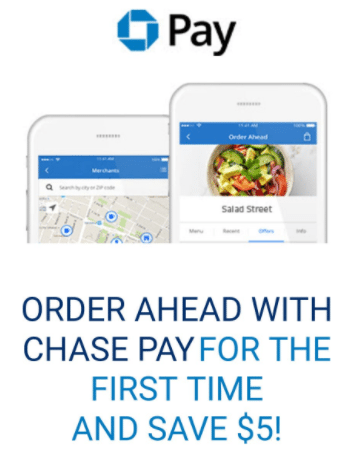 Chase Pay $5 Off First Use Promotion