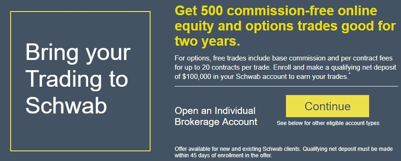 Charles Schwab Promotions August 2019: $500, 500 Free Equity