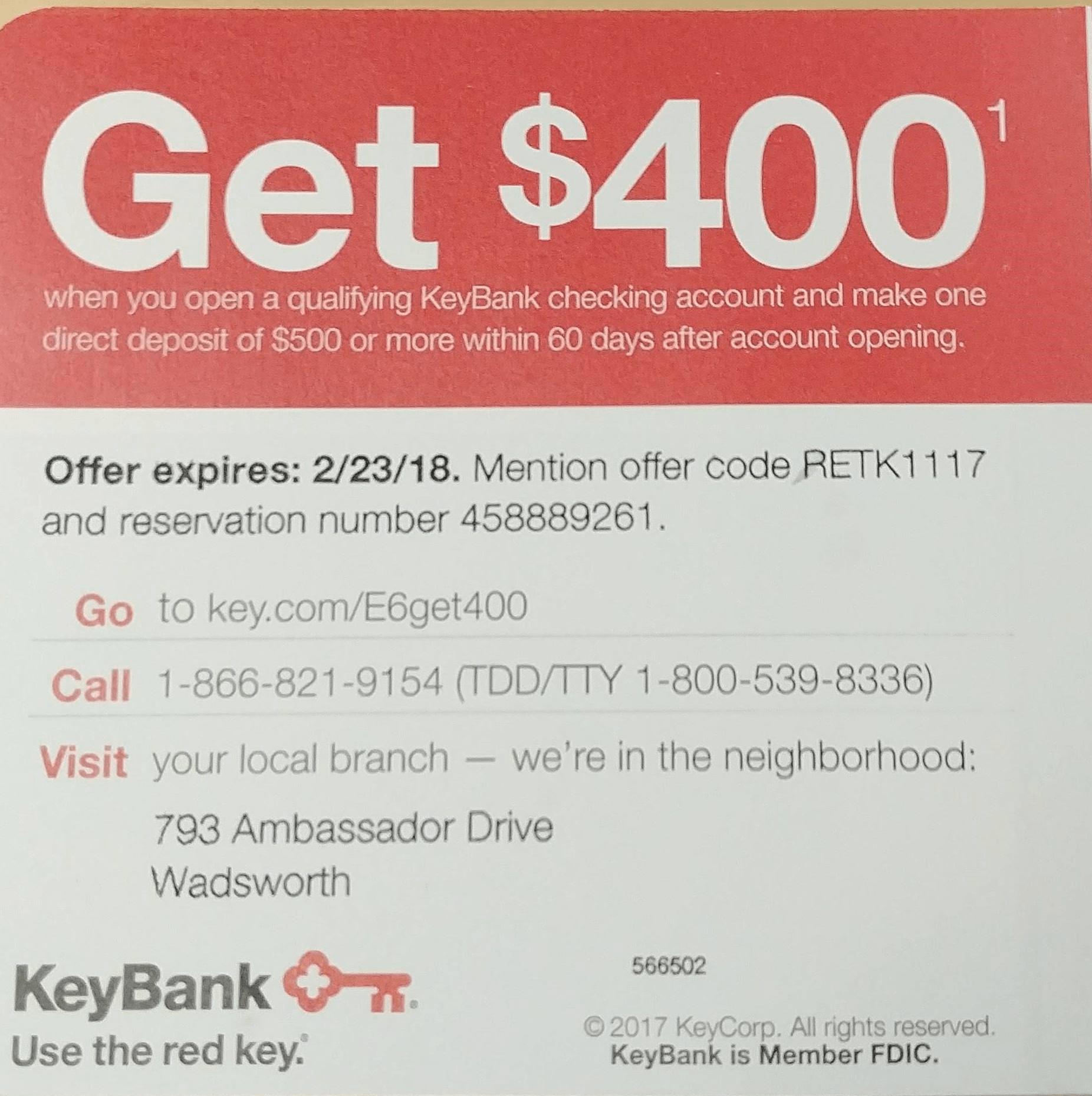 KeyBank Checking Account Promotion $400 Bonus NY OH CO CT PA