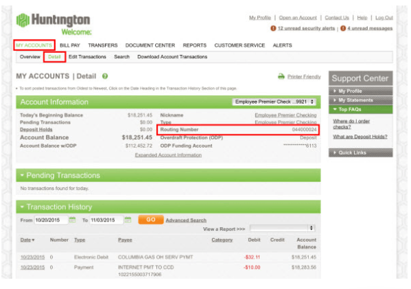 Huntington Bank Routing Number Information: Find Your