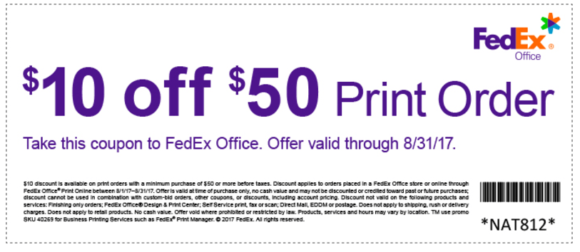 Fedex printing services promotion 10 off 50 print order for Fedex printing coupon codes