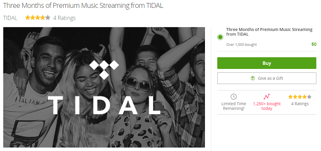 Groupon TIDAL Free Trial Promotion: Three Months of Premium Music