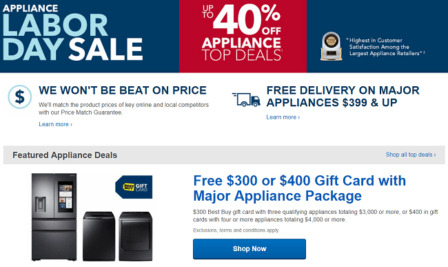 Best Buy Labor Day Promotion Up To 40 Off Appliance Deals