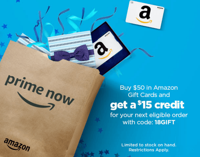 15 dollar amazon gift card amazon prime now gift card promotion receive 15 credit 6920