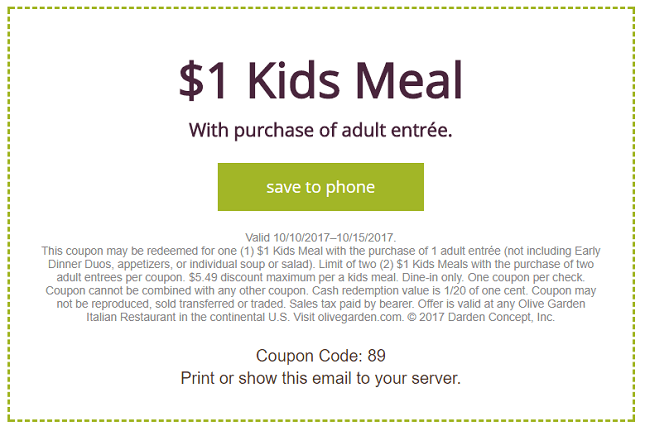 Olive Garden Discount Promotion 1 Kids Meals With Adult Entree