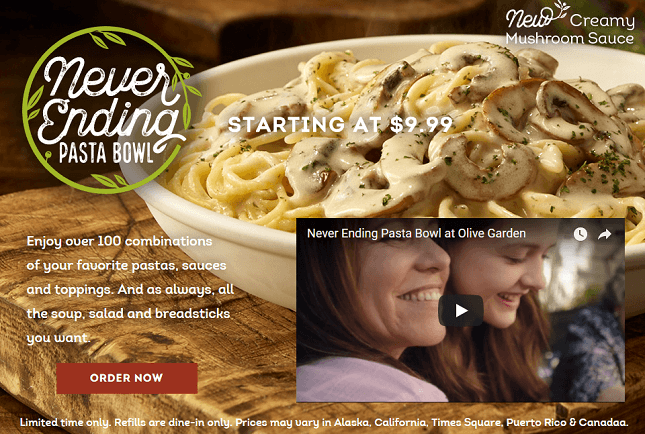 Olive garden 39 s never ending pasta bowl offer only for Take me to the nearest olive garden