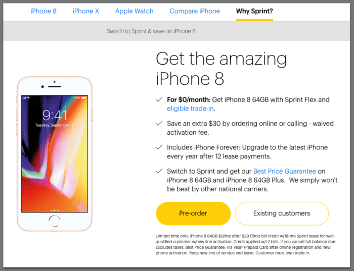 Sprint Trade-In Promotion: Get the iPhone 8 for $0/Month